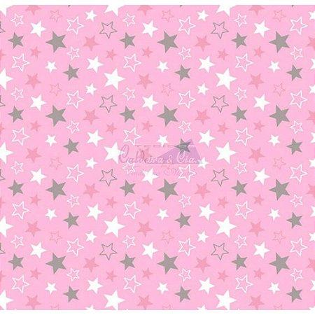Tricoline Estrelas Star - Rosa Com Cinza 100% Algodão, Unid. 50cm x 1,50mt