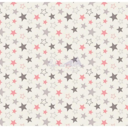 Tricoline Estrelas Star - Cinza com Rose 100% Algodão, Unid. 50cm x 1,50mt