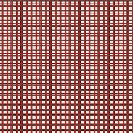 Tricoline Estampado Xadrez Angels Vermelho, 100% Algodão, Unid. 50cm x 1,50mt