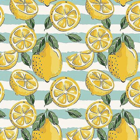 Tricoline Estampado Limão Siciliano, 100% Algodão, Unid. 50cm x 1,50mt