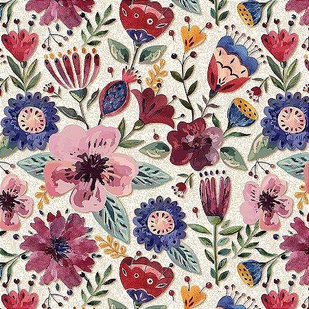 Tricoline Digital Floral Elegance Claro 100% Algodão, Unid. 50cm x 1,50mt
