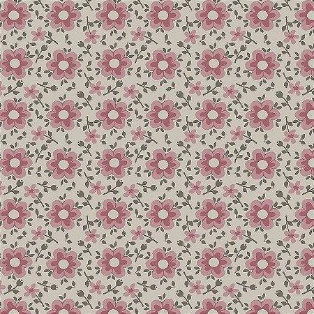 Tricoline Estampado Florido Delicado Rosa, 100% Algodão, Unid. 50cm x 1,50mt