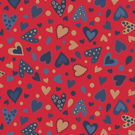 Tricoline Estampado Amore Love Corações Fundo Vermelho, 100% Algodão, Unid. 50cm x 1,50mt