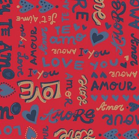 Tricoline Estampado Amore Love Fundo Vermelho, 100% Algodão, Unid. 50cm x 1,50mt