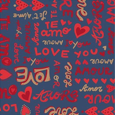 Tricoline Estampado Amore Love Fundo Azul, 100% Algodão, Unid. 50cm x 1,50mt