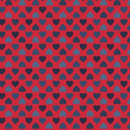 Tricoline Estampado Amor Mini Corações Fundo Vermelho, 100% Algodão, Unid. 50cm x 1,50mt