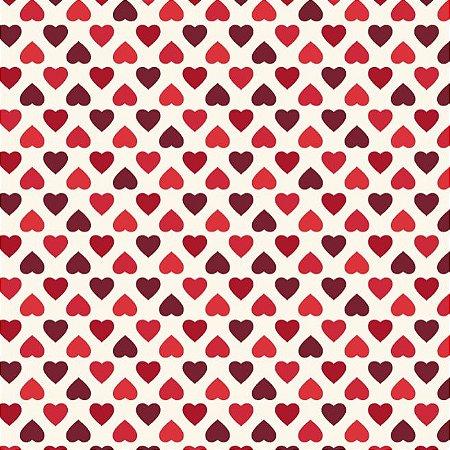Tricoline Estampado Amor Mini Corações Fundo Claro, 100% Algodão, Unid. 50cm x 1,50mt