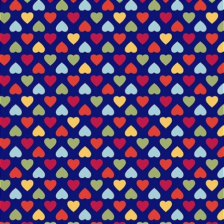 Tricoline Amor Mini Corações Coloridos Fundo Azul, 100% Algodão, Unid. 50cm x 1,50mt