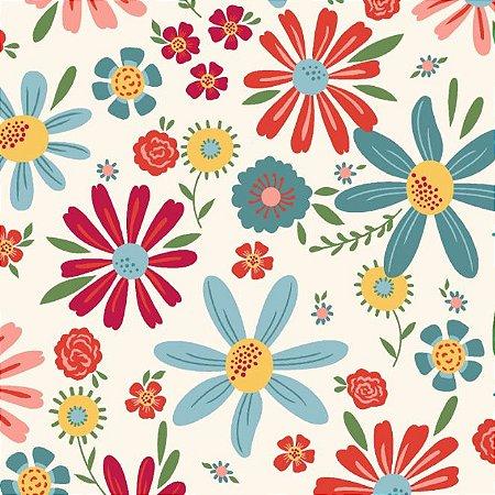 Tecido Tricoline Estampado Floral Esperança Grande Claro, 100% Algodão, Unid. 50cm x 1,50mt