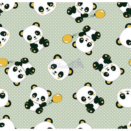 Tecido Tricoline Panda (Verde), 100% Algodão, Unid. 50cm x 1,50mt