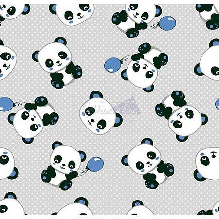 Tecido Tricoline Panda (Cinza com Azul), 100% Algodão, Unid. 50cm x 1,50mt