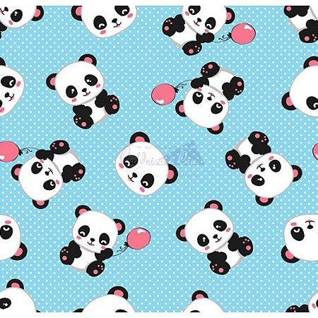 Tecido Tricoline Panda (Azul com Rosa), 100% Algodão, Unid. 50cm x 1,50mt