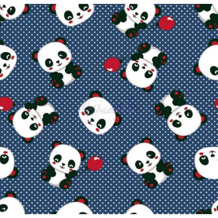 Tecido Tricoline Panda (Marinho), 100% Algodão, Unid. 50cm x 1,50mt