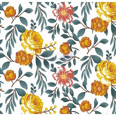 Tecido Tricoline Gardenias (Amarelo), 100% Algodão, Unid. 50cm x 1,50mt