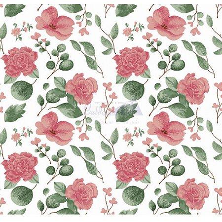 Tecido Tricoline Camélias (Rose), 100% Algodão, Unid. 50cm x 1,50mt