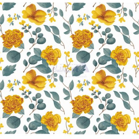 Tecido Tricoline Camélias (Amarelo), 100% Algodão, Unid. 50cm x 1,50mt