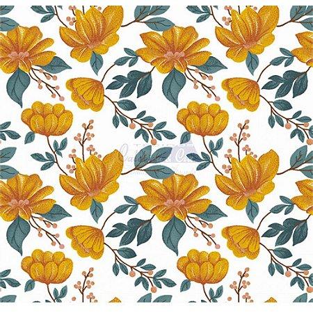 Tecido Tricoline Azaleias (Amarelo), 100% Algodão, Unid. 50cm x 1,50mt