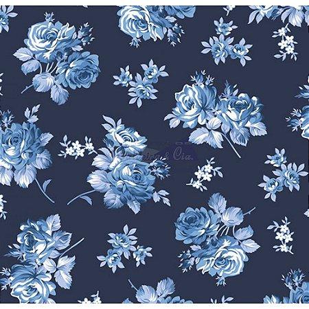 Tecido Tricoline Jasmine (Marinho), 100% Algodão, Unid. 50cm x 1,50mt