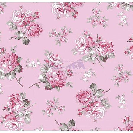 Tecido Tricoline Jasmine (Rose), 100% Algodão, Unid. 50cm x 1,50mt