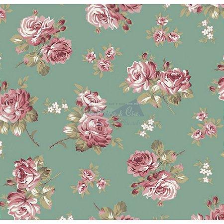 Tecido Tricoline Jasmine (Verde Vintage), 100% Algodão, Unid. 50cm x 1,50mt