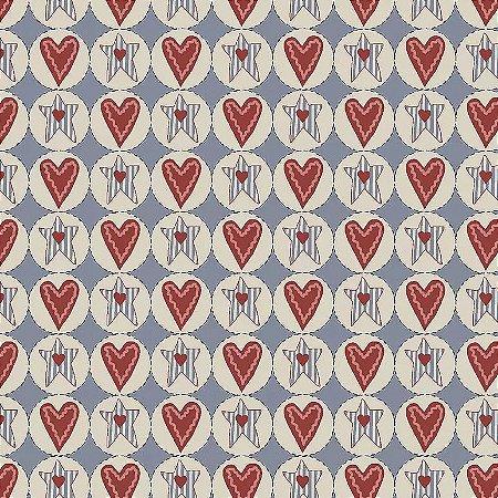 Tecido Tricoline Estrelas e Corações Country, 100% Algodão, Unid. 50cm x 1,50mt