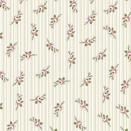 Tecido Tricoline Micro Florais Fadas Creme, 100% Algodão, Unid. 50cm x 1,50mt