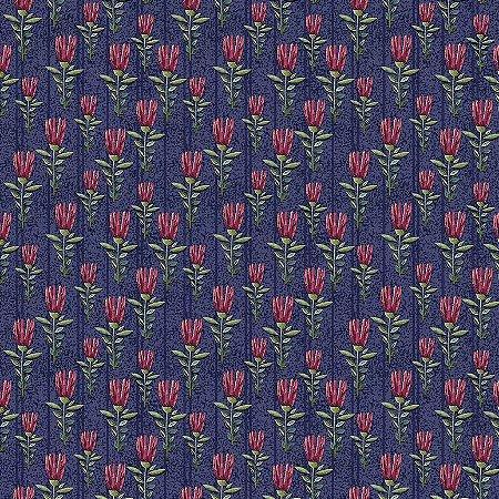 Tricoline Digital Mini Floral Elegance Marinho, 100% Algodão, Unid. 50cm x 1,50mt