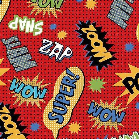 Tricoline Estampado Super Hero Zoom Vermelho - 100% Algodão, Unid. 50cm x 1,50mt