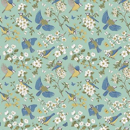 Tricoline Estampado Blue Birds, 100% Algodão, Unid. 50cm x 1,50mt