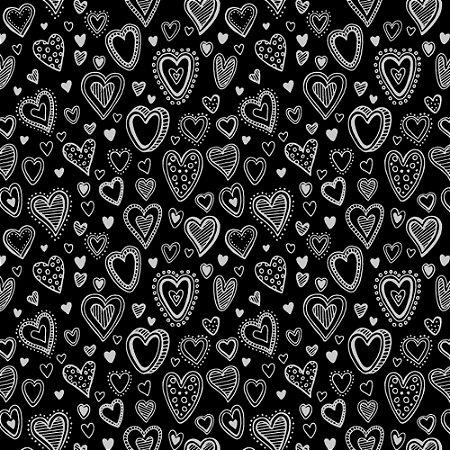 Tricoline Estampado Multi Corações Preto, 100% Algodão, Unid. 50cm x 1,50mt