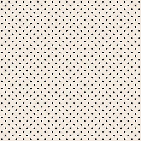 Tricoline Estampado Mini Poá Preto, 100% Algodão, Unid. 50cm x 1,50mt