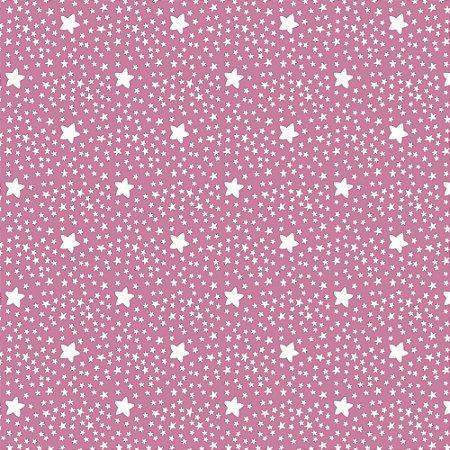 Tricoline Estampado Estrelinhas Rosa Chiclete, 100% Algodão, Unid. 50cm x 1,50mt