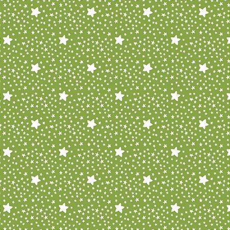 Tricoline Estampado Estrelinhas Verde Folha, 100% Algodão, Unid. 50cm x 1,50mt