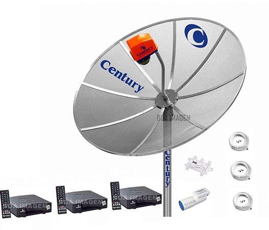 Kit Antena Parabólica Century Multiponto com 03 Receptores Nanobox
