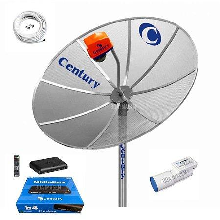 Kit Antena Parabólica  Century 1,7m com receptor century Midia Box b4 sem Conversor