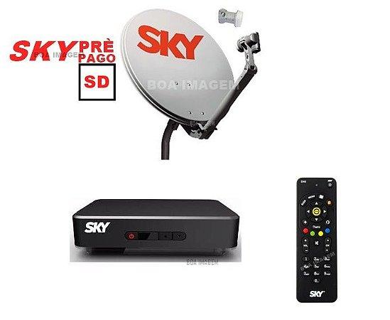 Antena Parabólica Sky 60 cm + Receptor Digital Sky Pré Pago Flex Sd