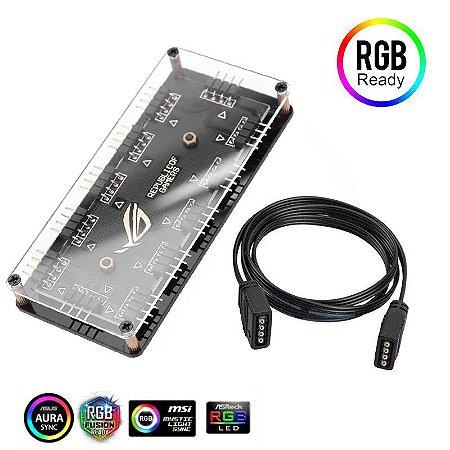 Hub RGB Para Até 10 Fans 12v 4 Pinos Aura Fusion Polychrome