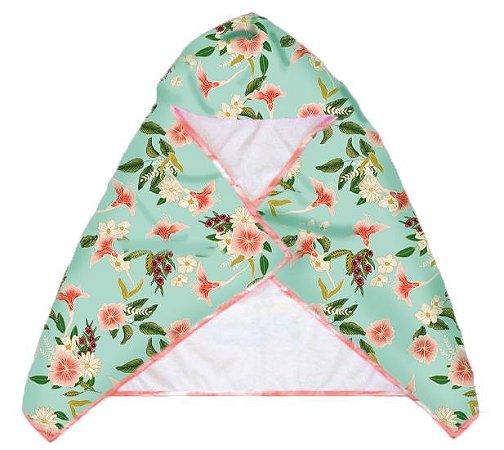 Toalha Infantil com Capuz Bora Bora - Floral/Rose