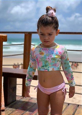 Biquíni Infantil Com Manga Cropped Estampado Santa Cruz - Paradise/Pink Dot