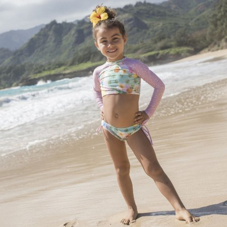 Biquíni Infantil Com Manga Cropped Estampado Santa Barbara - Paradise/Pink Dot