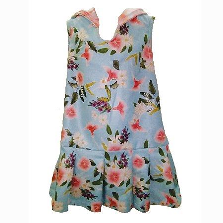 Vestido Infantil com Capuz Lola - Floral/Rose