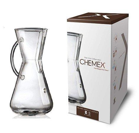 Cafeteira Chemex Glass Handle 3 Xícaras Passador de Café