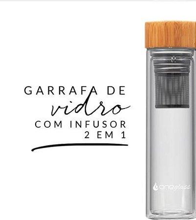 GARRAFA DE VIDRO DUPLO COM INFUSOR DE INOX 500ML E CAPA DE NEOPRENE - One Glass