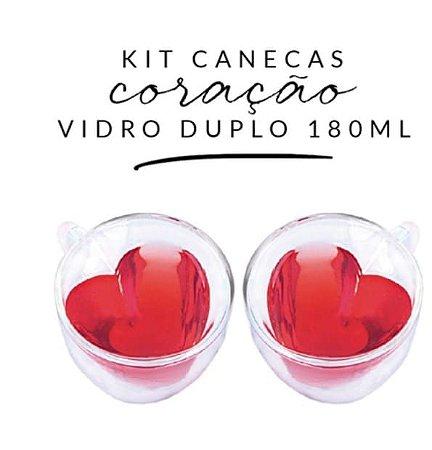 CANECA DE VIDRO DUPLO CORAÇÃO 180ML (KIT COM DUAS UNIDADES)