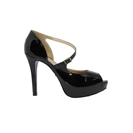 Sapato Feminino Peep Toe SHEPZ Sola Azul Preto