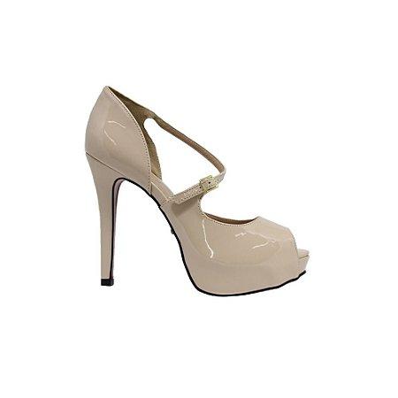 Sapato Feminino Peep Toe SHEPZ Verniz Sola Vermelha Bege