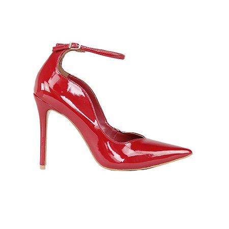Sapato Feminino Scarpin SHEPZ Verniz Salto Alto Bico Fino Ajuste nos Tornozelos Vermelho