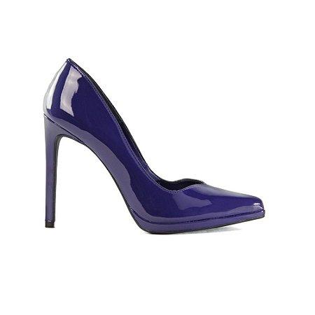 Sapato Feminino Scarpin SHEPZ Verniz Salto Alto Bico Fino Azul Escuro