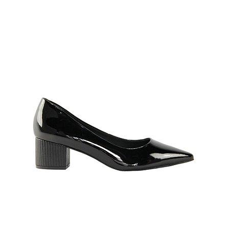 Sapato Feminino Scarpin SHEPZ Salto Quadrado Bico Fino Preto