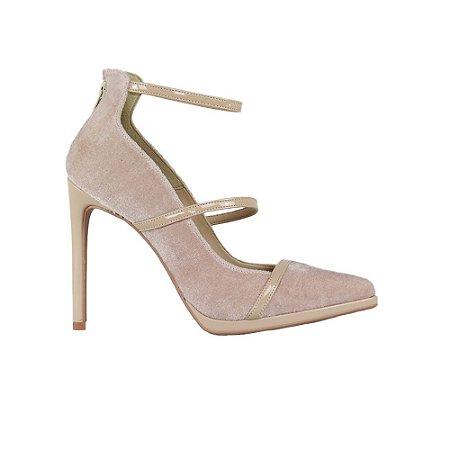 Sapato Feminino Scarpin SHEPZ Veludo Salto Alto Bico Fino Tiras Finas Blush